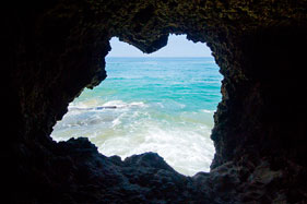 View from beach cave